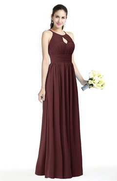 ColsBM Cherish Burgundy Traditional A-line Jewel Sleeveless Zipper Sash Bridesmaid Dresses