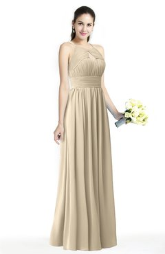 ColsBM Cherish Champagne Traditional A-line Jewel Sleeveless Zipper Sash Bridesmaid Dresses