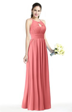ColsBM Cherish Coral Traditional A-line Jewel Sleeveless Zipper Sash Bridesmaid Dresses