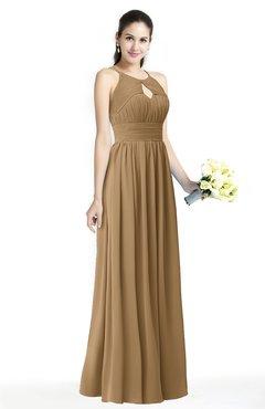 e10d5da5d00c ColsBM Cherish Indian Tan Traditional A-line Jewel Sleeveless Zipper Sash  Bridesmaid Dresses