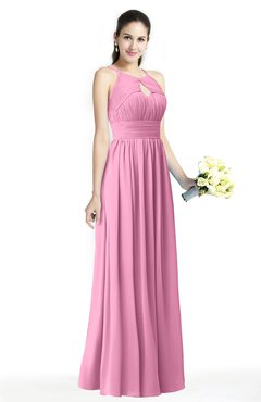 ColsBM Cherish Pink Traditional A-line Jewel Sleeveless Zipper Sash Bridesmaid Dresses