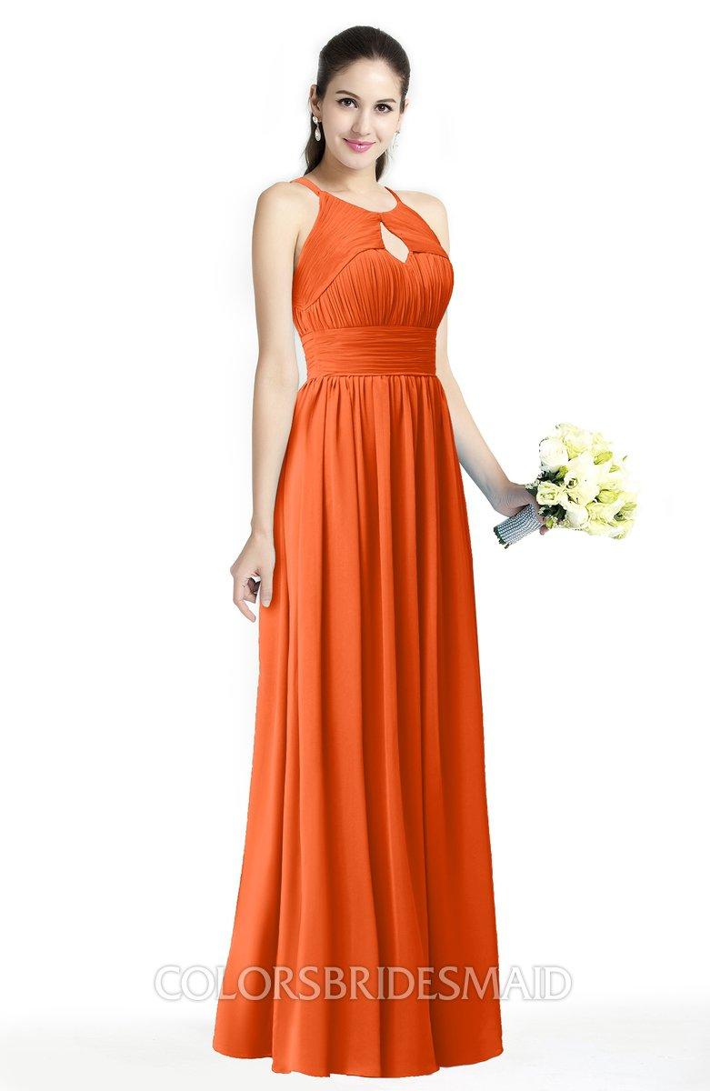Colsbm Cherish Tangerine Traditional A Line Jewel Sleeveless Zipper Sash Bridesmaid Dresses