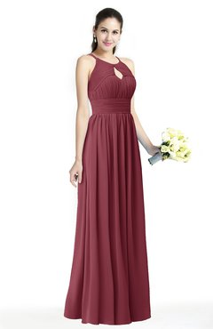 ColsBM Cherish Wine Traditional A-line Jewel Sleeveless Zipper Sash Bridesmaid Dresses