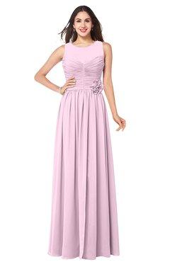 ColsBM Carla Baby Pink Romantic Jewel Zipper Chiffon Pleated Plus Size Bridesmaid Dresses