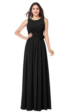 ColsBM Carla Black Romantic Jewel Zipper Chiffon Pleated Plus Size Bridesmaid Dresses