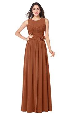 ColsBM Carla Bombay Brown Romantic Jewel Zipper Chiffon Pleated Plus Size Bridesmaid Dresses