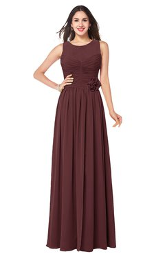 ColsBM Carla Burgundy Romantic Jewel Zipper Chiffon Pleated Plus Size Bridesmaid Dresses
