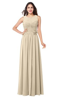ColsBM Carla Champagne Romantic Jewel Zipper Chiffon Pleated Plus Size Bridesmaid Dresses