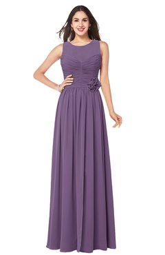 ColsBM Carla Chinese Violet Romantic Jewel Zipper Chiffon Pleated Plus Size Bridesmaid Dresses