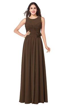 ColsBM Carla Chocolate Brown Romantic Jewel Zipper Chiffon Pleated Plus Size Bridesmaid Dresses