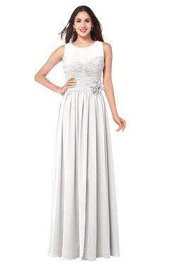 ColsBM Carla Cloud White Romantic Jewel Zipper Chiffon Pleated Plus Size Bridesmaid Dresses