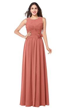 ColsBM Carla Crabapple Romantic Jewel Zipper Chiffon Pleated Plus Size Bridesmaid Dresses