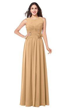 ColsBM Carla Desert Mist Romantic Jewel Zipper Chiffon Pleated Plus Size Bridesmaid Dresses