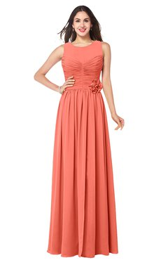 ColsBM Carla Fusion Coral Romantic Jewel Zipper Chiffon Pleated Plus Size Bridesmaid Dresses