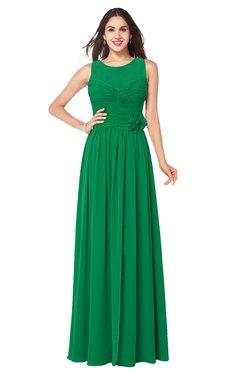 ColsBM Carla Green Romantic Jewel Zipper Chiffon Pleated Plus Size Bridesmaid Dresses