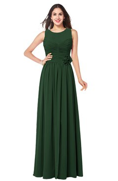 ColsBM Carla Hunter Green Romantic Jewel Zipper Chiffon Pleated Plus Size Bridesmaid Dresses