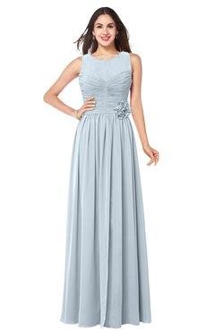 ColsBM Carla Illusion Blue Romantic Jewel Zipper Chiffon Pleated Plus Size Bridesmaid Dresses