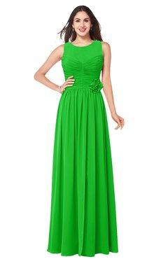 ColsBM Carla Jasmine Green Romantic Jewel Zipper Chiffon Pleated Plus Size Bridesmaid Dresses
