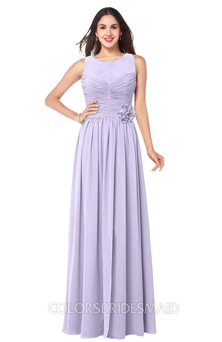 7d39992c5c7 ColsBM Carla Light Purple Romantic Jewel Zipper Chiffon Pleated Plus Size  Bridesmaid Dresses