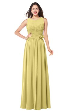 ColsBM Carla Misted Yellow Romantic Jewel Zipper Chiffon Pleated Plus Size Bridesmaid Dresses