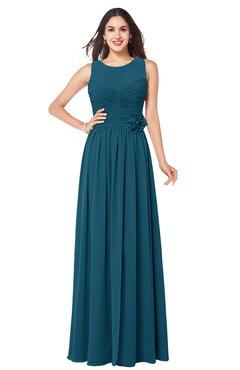 ColsBM Carla Moroccan Blue Romantic Jewel Zipper Chiffon Pleated Plus Size Bridesmaid Dresses