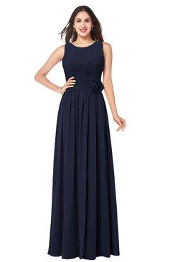 ColsBM Carla Peacoat Romantic Jewel Zipper Chiffon Pleated Plus Size Bridesmaid Dresses