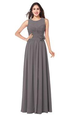 ColsBM Carla Ridge Grey Romantic Jewel Zipper Chiffon Pleated Plus Size Bridesmaid Dresses