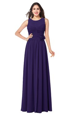ColsBM Carla Royal Purple Romantic Jewel Zipper Chiffon Pleated Plus Size Bridesmaid Dresses