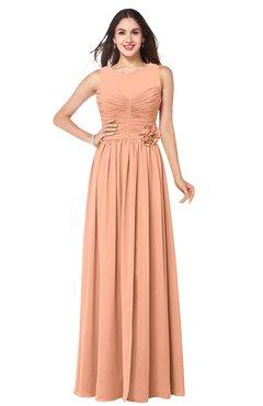 ColsBM Carla Salmon Romantic Jewel Zipper Chiffon Pleated Plus Size Bridesmaid Dresses