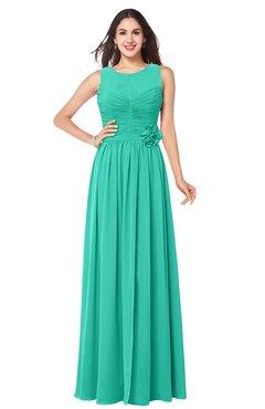 ColsBM Carla Viridian Green Romantic Jewel Zipper Chiffon Pleated Plus Size Bridesmaid Dresses
