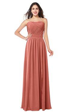 ColsBM Giuliana Crabapple Mature A-line Sleeveless Half Backless Floor Length Ruching Plus Size Bridesmaid Dresses