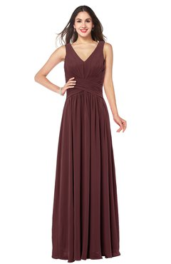 ColsBM Lucia Burgundy Sexy A-line V-neck Zipper Floor Length Ruching Plus Size Bridesmaid Dresses