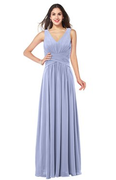 ColsBM Lucia Lavender Sexy A-line V-neck Zipper Floor Length Ruching Plus Size Bridesmaid Dresses