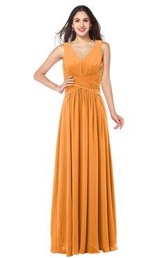 ColsBM Lucia Orange Sexy A-line V-neck Zipper Floor Length Ruching Plus Size Bridesmaid Dresses