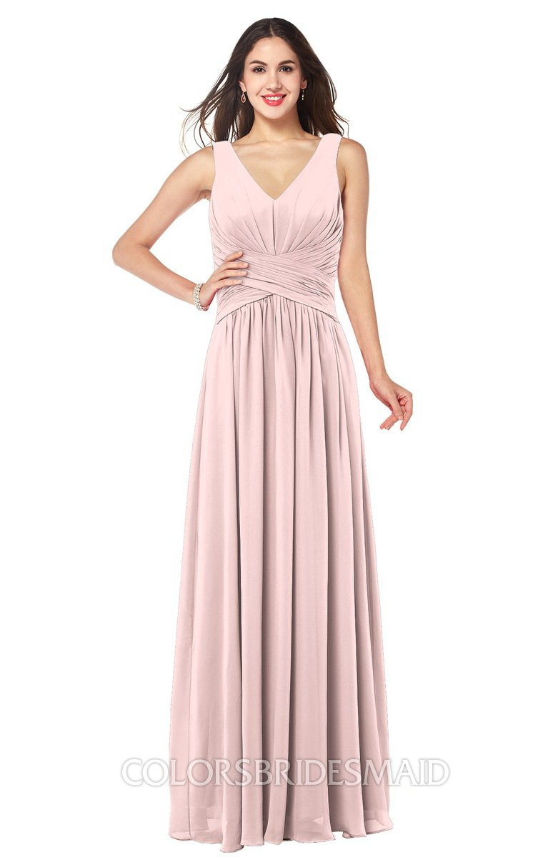 9933329ba0 ColsBM Lucia Pastel Pink Sexy A-line V-neck Zipper Floor Length Ruching Plus