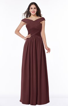 ColsBM Wendy Burgundy Classic A-line Off-the-Shoulder Sleeveless Zip up Floor Length Plus Size Bridesmaid Dresses