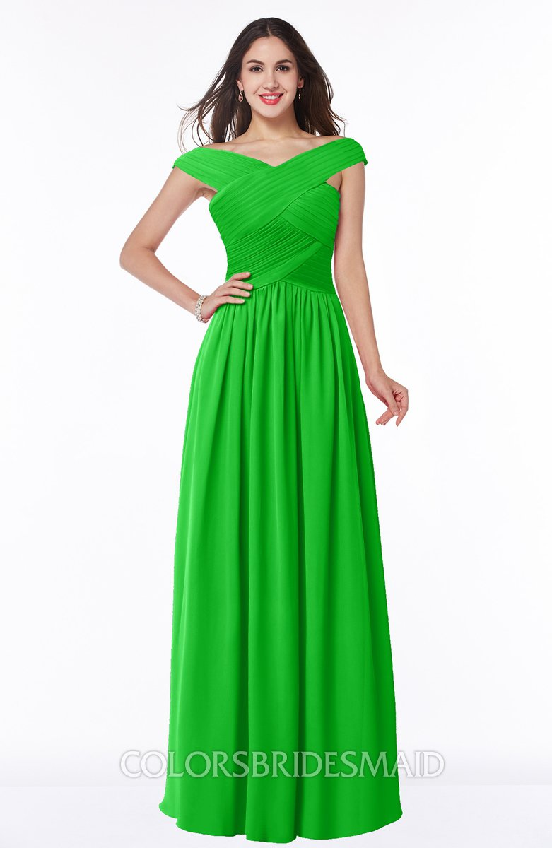 6f853bfccf69 ColsBM Wendy. Classic Green Classic A-line Off-the-Shoulder Sleeveless Zip  up Floor ...