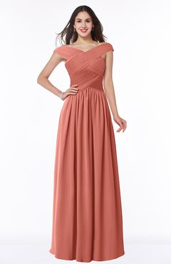 ColsBM Wendy Crabapple Classic A-line Off-the-Shoulder Sleeveless Zip up Floor Length Plus Size Bridesmaid Dresses