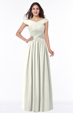 ColsBM Wendy Cream Classic A-line Off-the-Shoulder Sleeveless Zip up Floor Length Plus Size Bridesmaid Dresses