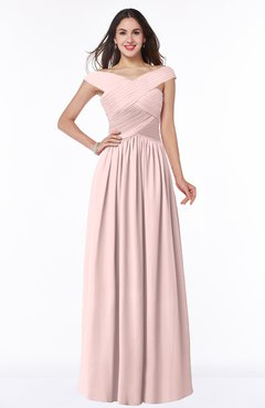 ColsBM Wendy Pastel Pink Classic A-line Off-the-Shoulder Sleeveless Zip up Floor Length Plus Size Bridesmaid Dresses