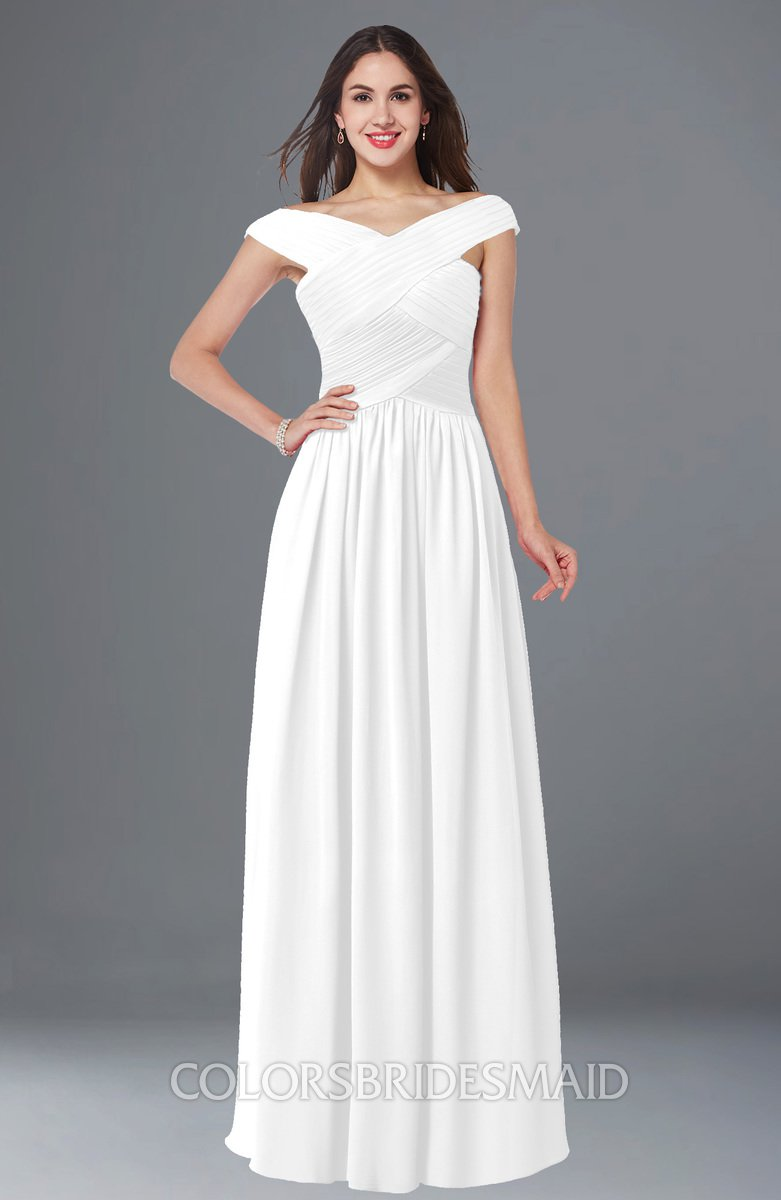 5974c6ae2d1a ColsBM Wendy White Classic A-line Off-the-Shoulder Sleeveless Zip up Floor