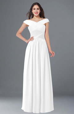 ColsBM Wendy White Classic A-line Off-the-Shoulder Sleeveless Zip up Floor Length Plus Size Bridesmaid Dresses