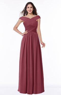 ColsBM Wendy Wine Classic A-line Off-the-Shoulder Sleeveless Zip up Floor Length Plus Size Bridesmaid Dresses