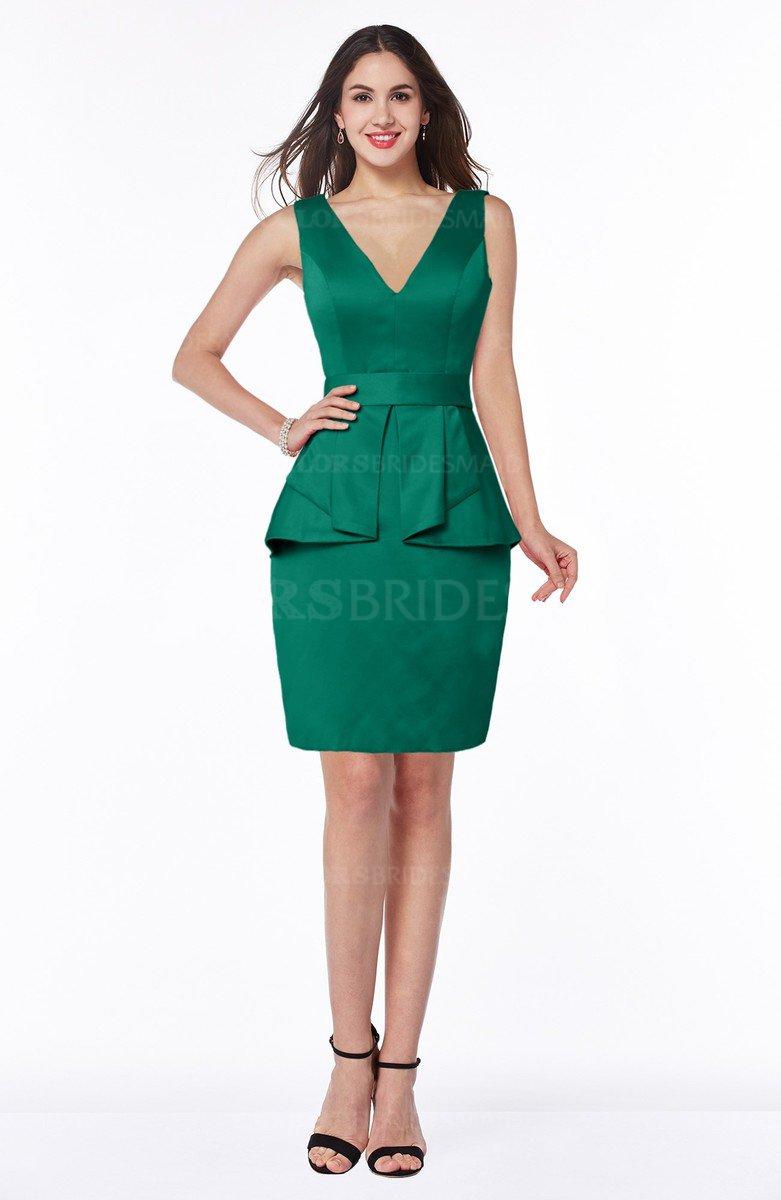 93e1a6e9d275 ColsBM Desiree Mint Classic Column V-neck Sleeveless Half Backless Sash  Wedding Guest Dresses