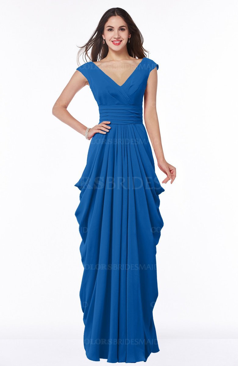 Colsbm Alice Royal Blue V Neck Short Sleeve Chiffon Floor Length Plus Size Bridesmaid