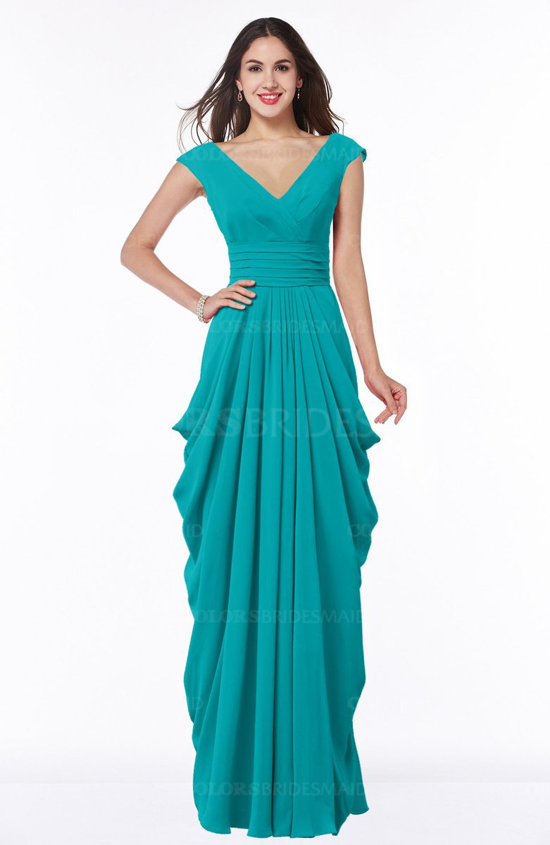 bf5337f53e7 ColsBM Alice Teal Mature V-neck Short Sleeve Chiffon Floor Length Plus Size  Bridesmaid Dresses