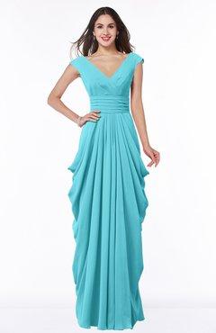 Turquoise V Neck Short Sleeve Chiffon Floor Length Plus Size Bridesmaid Dresses