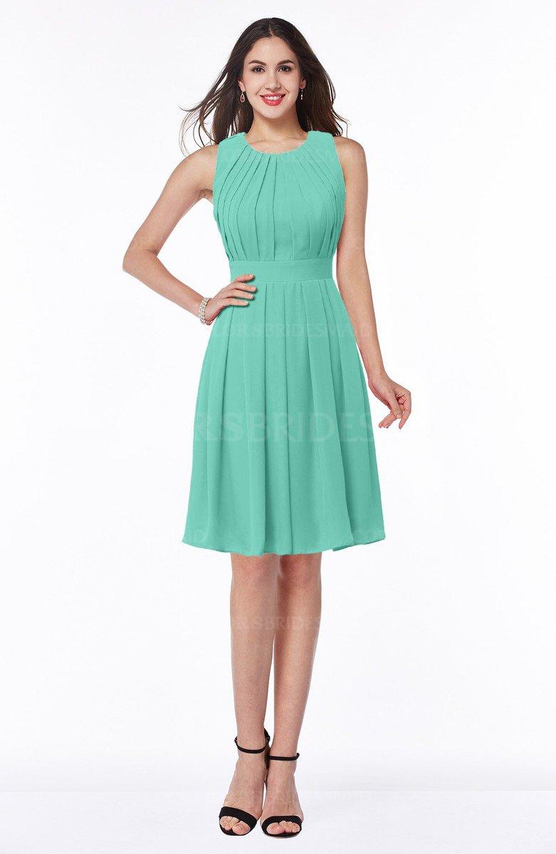Mint Green Elegant A-line Jewel Half Backless Chiffon Knee Length ...