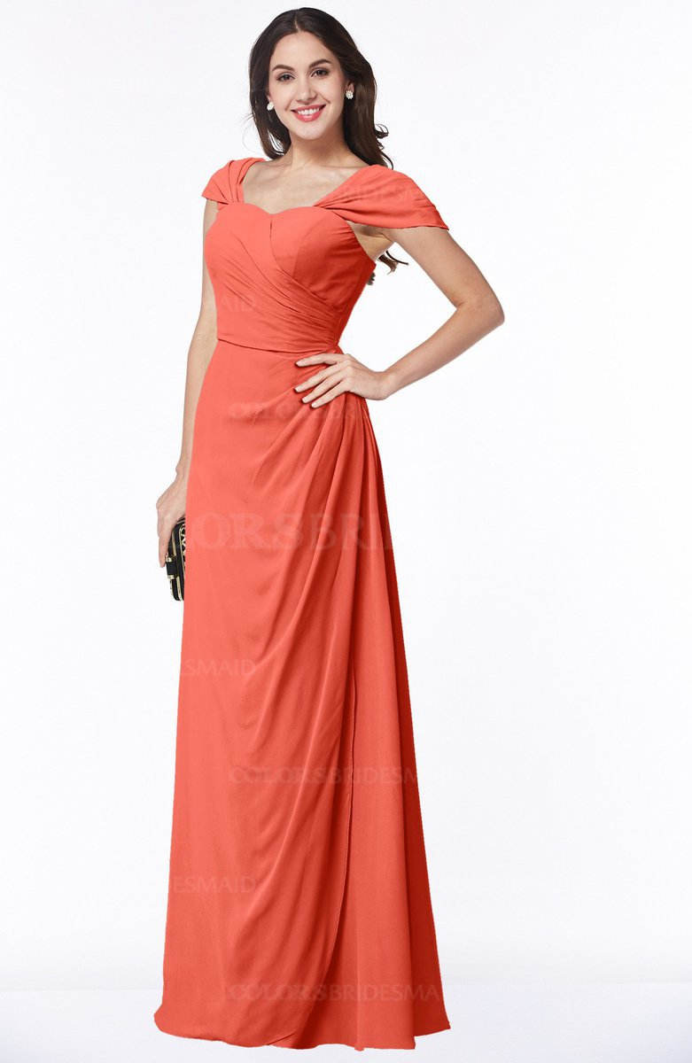 957b18b7481a ColsBM Clare Living Coral Modest Sweetheart Short Sleeve Floor Length  Pleated Plus Size Bridesmaid Dresses