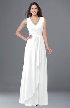 ColsBM Melody White Glamorous A-line Sleeveless Zipper Chiffon Floor Length Plus Size Bridesmaid Dresses